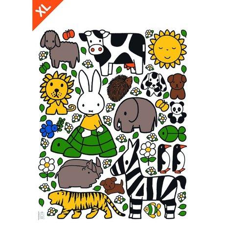 Kek Amsterdam Wall Sticker Miffy dyreelskere flerfarvet vinyl XL 95x120cm