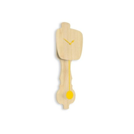 KLOQ Clock neutral wood small, yellow wood 59x20,4x6cm