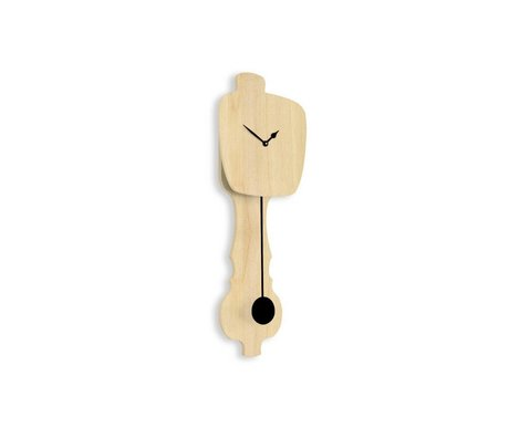 KLOQ Clock neutral wood small, black wood 59x20,4x6cm