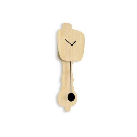 KLOQ Clock neutral Holz klein, schwarz Holz 59x20,4x6cm