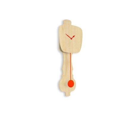 KLOQ Clock neutral small wood, orange wood 59x20,4x6cm