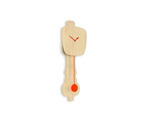 KLOQ Saat nötr küçük ahşap, turuncu ahşap 59x20,4x6cm