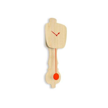 KLOQ Clock neutral klein Holz, orange Holz 59x20,4x6cm