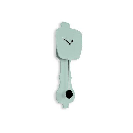 KLOQ Saat nane yeşili küçük, siyah ahşap 59x20,4x6cm