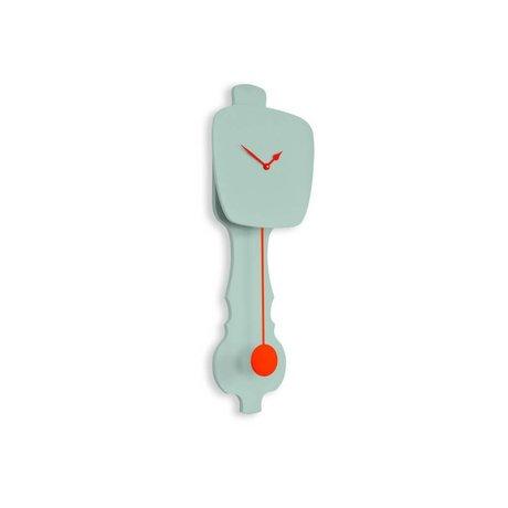 KLOQ Saat biraz nane yeşili, turuncu ahşap 59x20,4x6cm