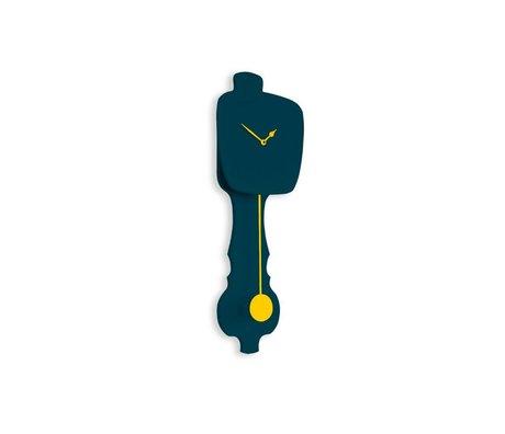 KLOQ Clock klein petrolblau, gelb Holz 59x20,4x6cm