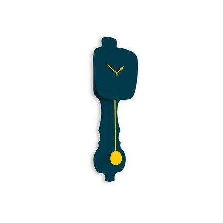 KLOQ Clock small petrol blue, yellow wood 59x20,4x6cm