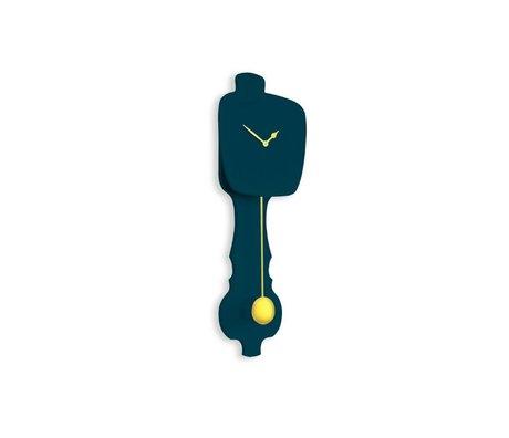 KLOQ Clock small gasoline blue, gold wood 59x20,4x6cm