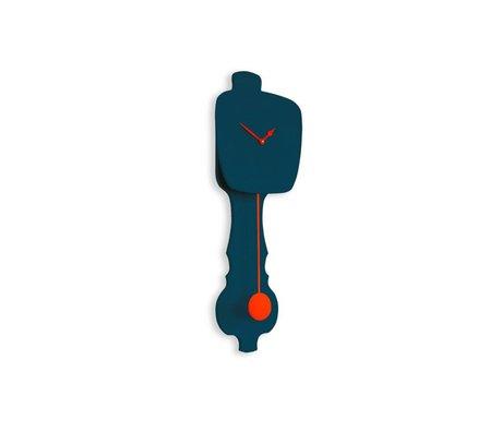 KLOQ Clock small petrol blue, orange wood 59x20,4x6cm