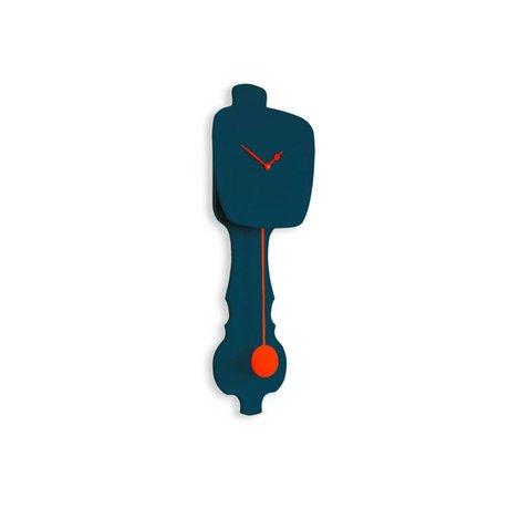 KLOQ Clock klein petrolblau, orange Holz 59x20,4x6cm