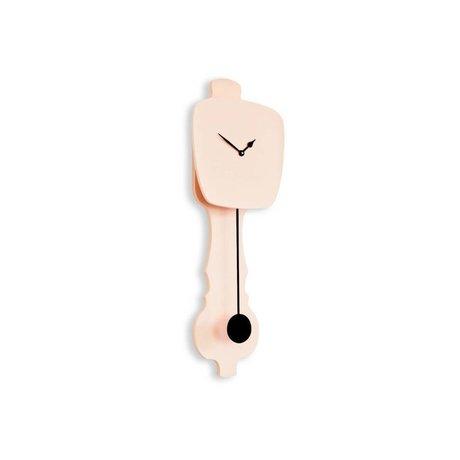 KLOQ Clock pink small black wood 59x20,4x6cm