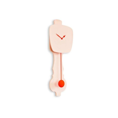 KLOQ Clock pink small orange wood 59x20,4x6cm