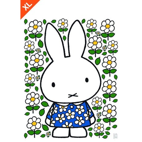 Kek Amsterdam Wall sticker Miffy Floral dress multicolour vinyl foil XL 94x120cm