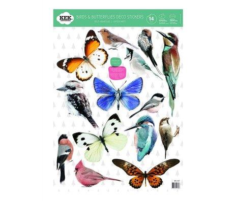 Kek Amsterdam Wand-Aufkleber-Set Vögel und Schmetterlinge bunte Vinylfolie 42x59cm