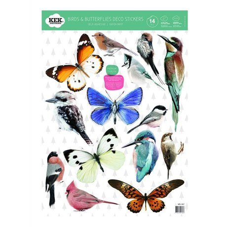 Kek Amsterdam Duvar Sticker Seti kuşlar ve kelebekler renkli vinil 42x59cm