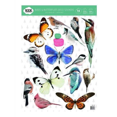 Kek Amsterdam Wall Sticker Set fugle og sommerfugle farverige vinyl 42x59cm