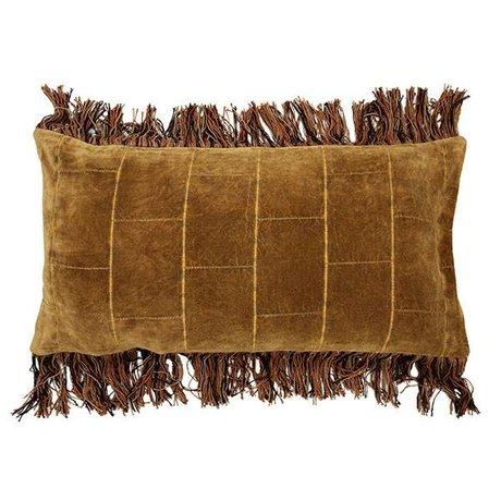 HK-living velluto stonewashed cuscino ocra 35x70cm