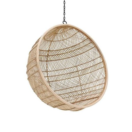 HK-living Hangstoel Bohemian Ball Natural brown Rattan 108x108x83cm