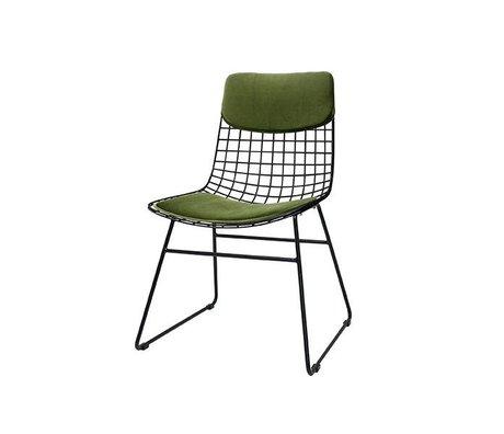 HK-living silla de alambre de metal verde Kit Comfort terciopelo