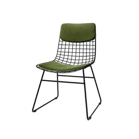 HK-living Konfor Kiti kadife yeşil metal tel sandalye