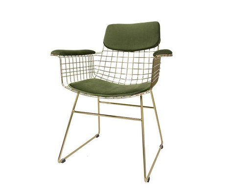 HK-living Cushion set Comfort Kit velvet green metal wire of chair with armrests