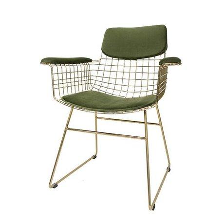 HK-living Set oreiller velours Kit Comfort chaise fil métallique vert avec accoudoirs