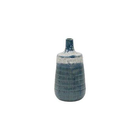 HK-living M blaue Keramik-Vase 10,6x10,6x20,5cm