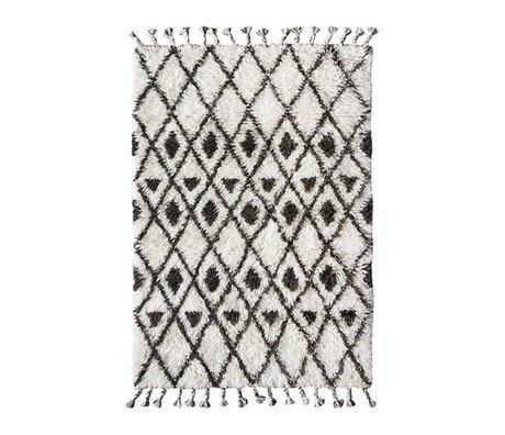 HK-living Berber tæppe håndknyttet uld sort og hvid 120x180cm