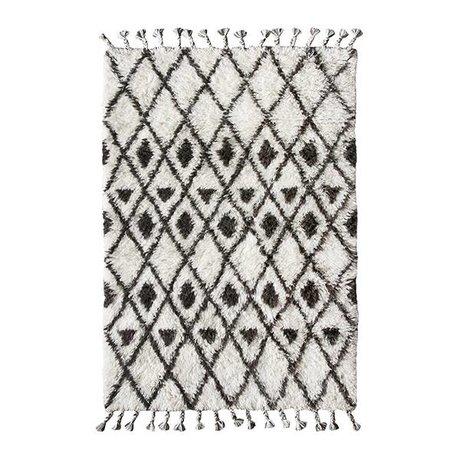 HK-living Berber Teppich handgeknüpft Wolle braun und weiß 120x180cm