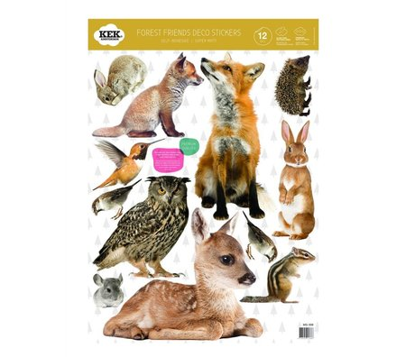 Kek Amsterdam Wall Sticker Set Forest Friends flerfarvet vinyl 42x59cm