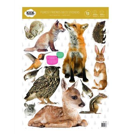 Kek Amsterdam Etiqueta de la pared Set amigos del bosque multicolor de vinilo 42x59cm