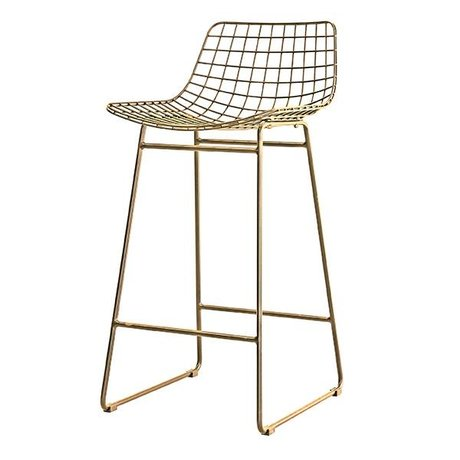 HK-living Barhocker messing wire messing stålwire 47x47x89cm