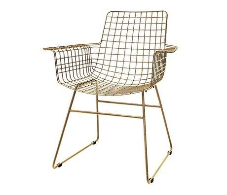 HK-living Draht Stuhl mit Armlehnen Messingdraht Stahl 72x56x86cm