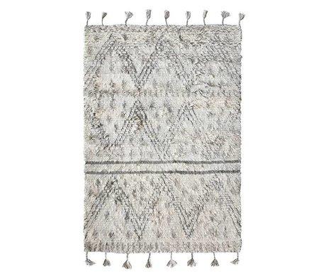 HK-living Berber carpet hand-weaved wool gray white 180x280cm