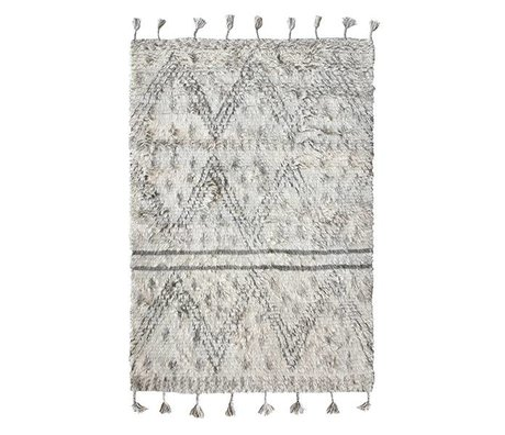 HK-living Berber tappeto tessuto a mano lana grigia 180x280cm bianco