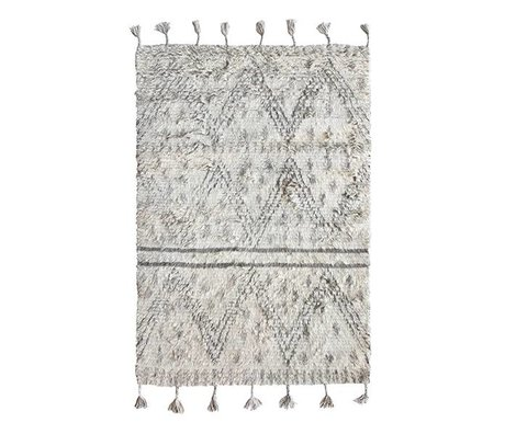 HK-living Tapis berbère laine tissé à la main gris blanc 120x180cm