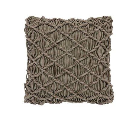 HK-living Pillow grøn macrame bomuld 50x50cm