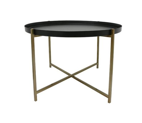 HK-living Side Table L Messing Messing sort 63x63x40cm