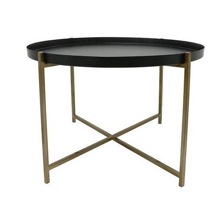 HK-living Tavolino L Ottone Ottone 63x63x40cm nero