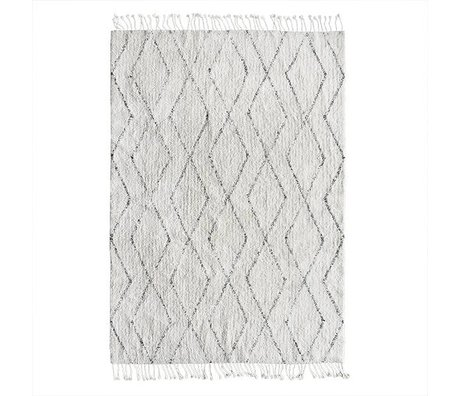 HK-living Berber halı el dokuma beyaz pamuk 140x200cm gri