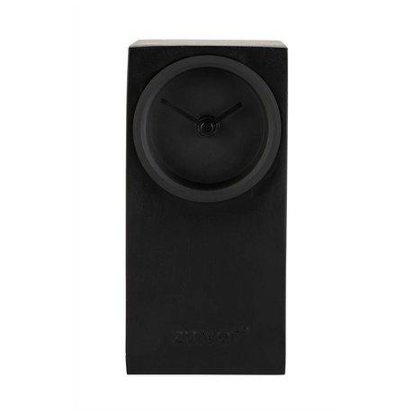 Zuiver Table clock Brick black metal 9x9x19cm
