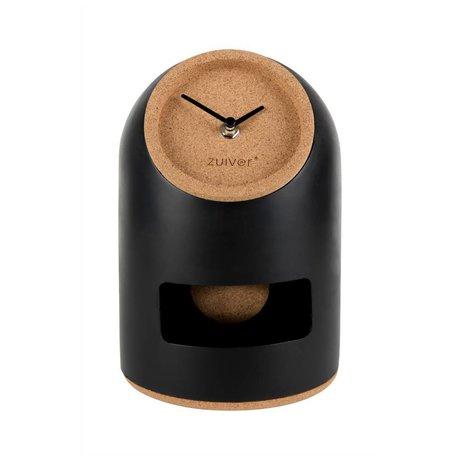 Zuiver Table clock Uno black concrete cork Ø17x24,5cm