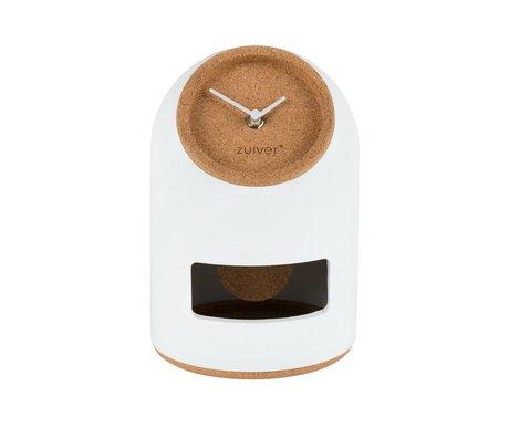 Zuiver Table clock Uno white concrete cork Ø17x24,5cm