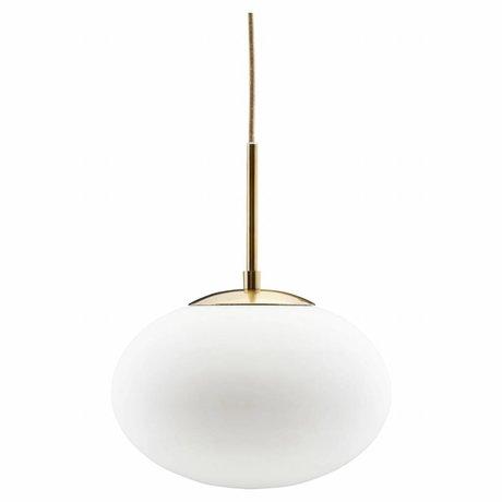 Housedoctor Hängeleuchte Opalglas, weiß Metall 30x35cm