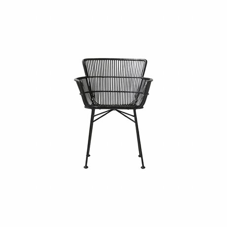Housedoctor Yemek sandalyesi Coon siyah rattan 60,5x80x62cm