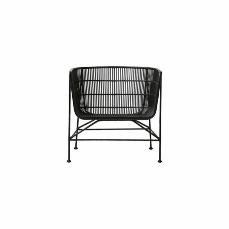 Housedoctor Coon chaise en rotin noir 60.5x70x70cm