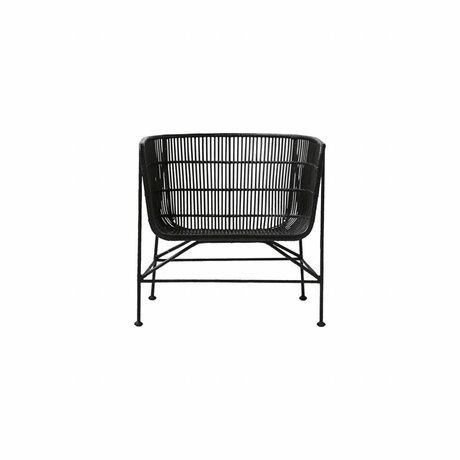 Housedoctor Rakun siyah rattan sandalye 60.5x70x70cm
