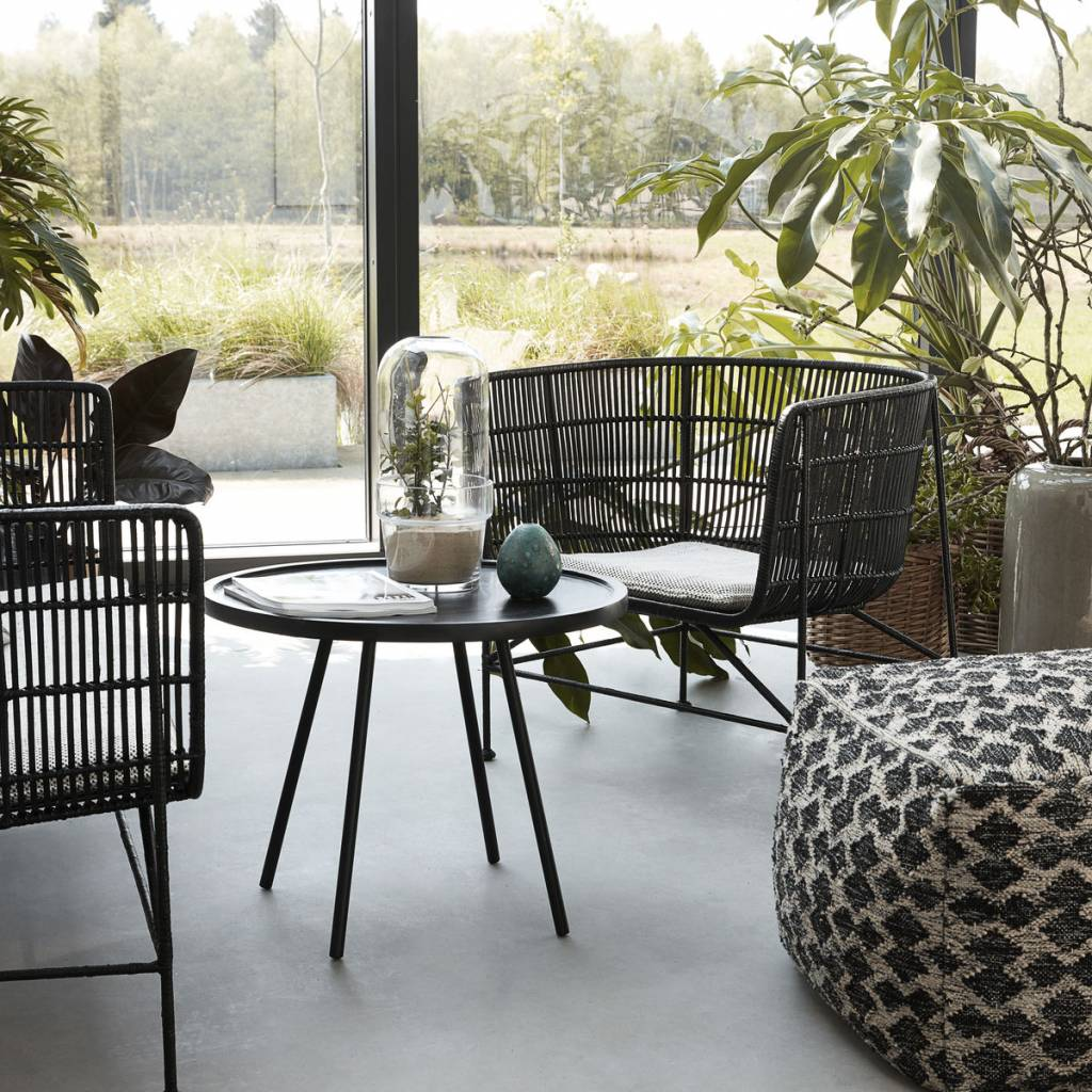 Housedoctor Coon de ratán negro silla 60.5x70x70cm - lefliving.com