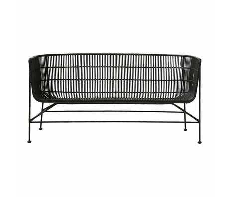Housedoctor Bank Coon black rattan 65.5x140x70cm