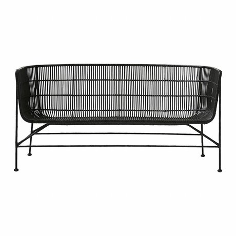 Housedoctor Bank Coon sort rattan 65.5x140x70cm